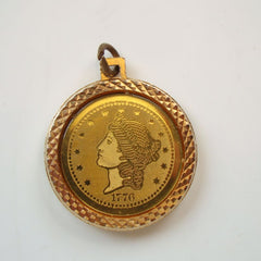 1776 Commemorative Coin Necklace Pendant Goldtone Lady Liberty Eagle Vintage Jewelry