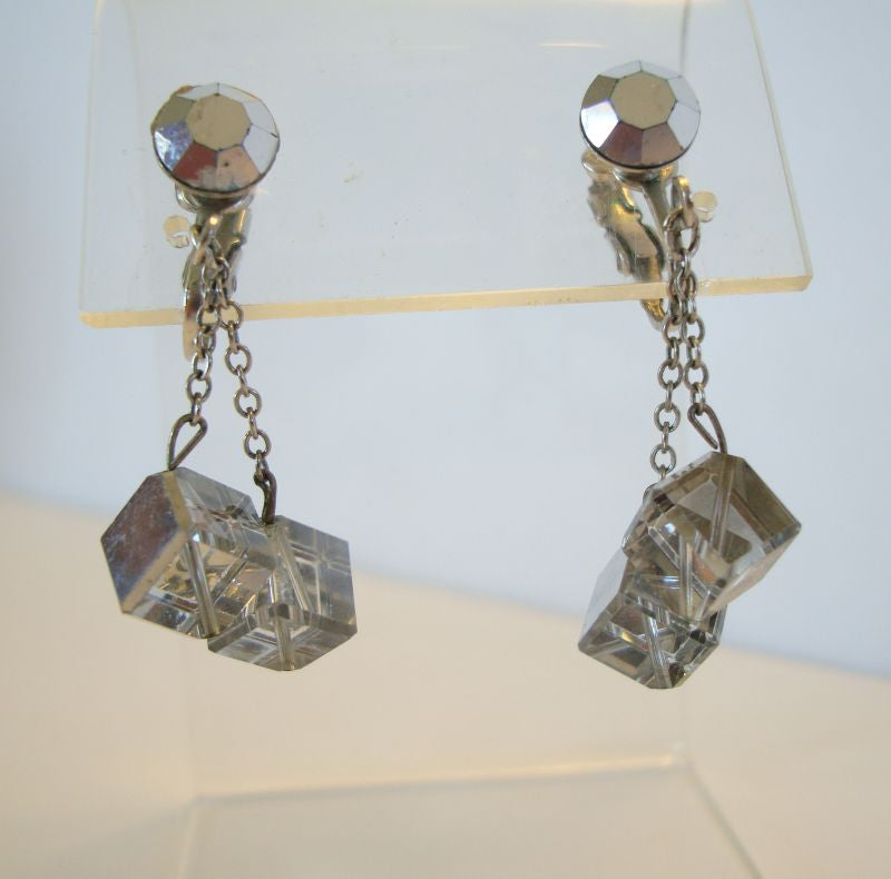 Square Mirrored 'Dice-Shaped' Clip Dangle Earrings Vintage Jewelry