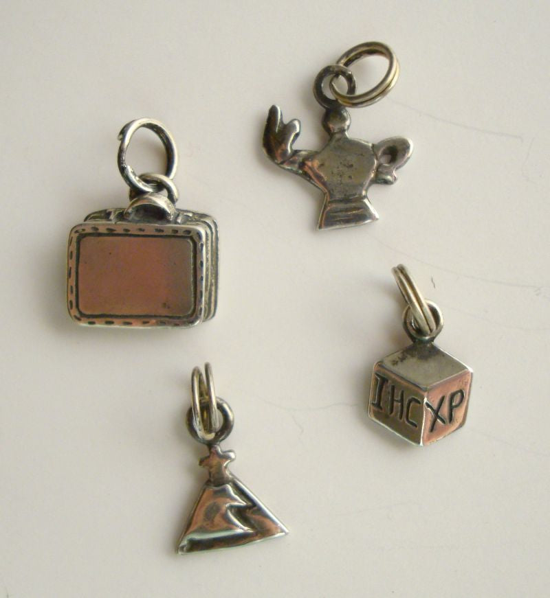 Four 4 Christian Charms Sterling Silver Signed Vintage Religious Jewelry