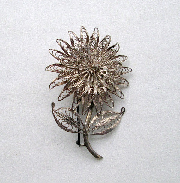 Siam silver cannetille filigree floral pin