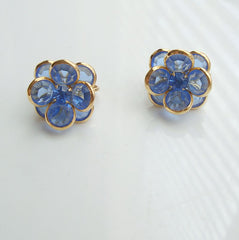 Blue Faceted Glass Clip On Earrings Rhinestones Vintage Floral Jewelry