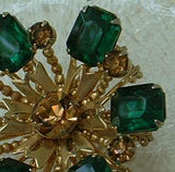 Austrian Emerald Green Topaz Crystal Brooch Baguette Cut Vintage Jewelry