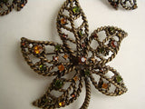 Avon Demi Openwork Leaf Brooch Earring Set Antiqued Rhinestone Jewelry