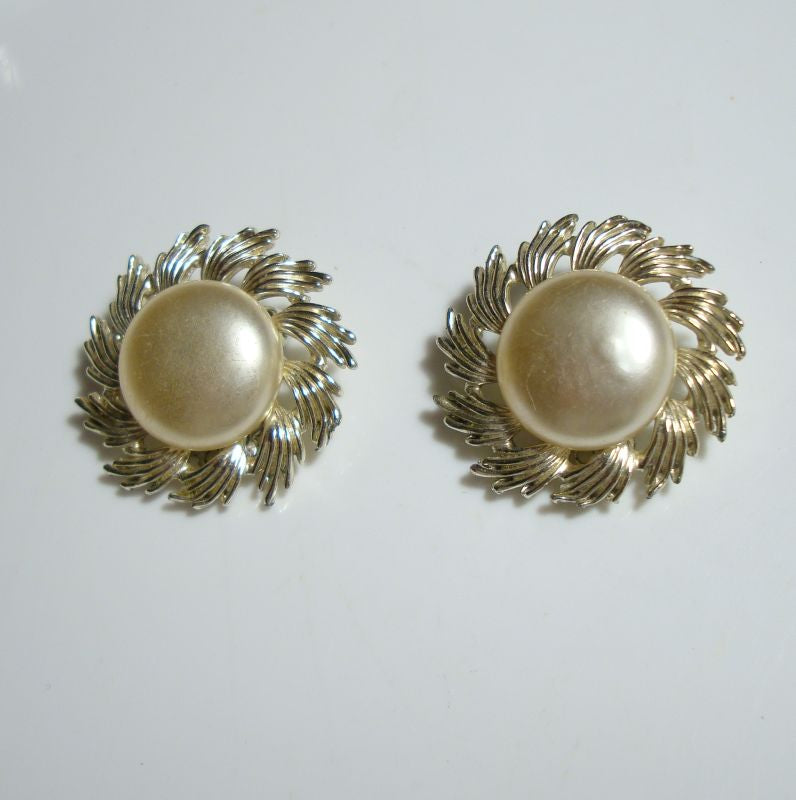 CORO Faux Pearl Swirl Floral Clip Button Earrings