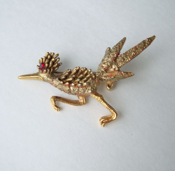 Racing Roadrunner Brooch Pin Red Eye Express Pin Vintage Jewelry