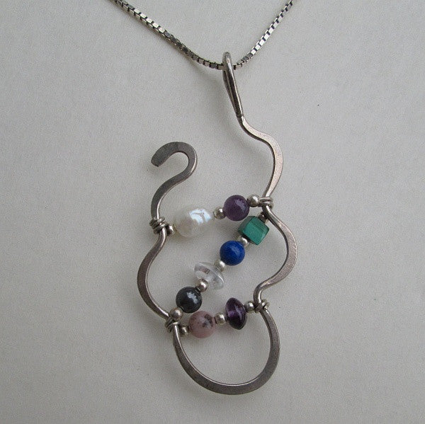 Sterling Silver Mid Century Abstract Pendant Necklace with Gemstones