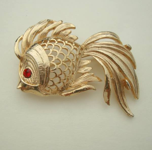 Fantail Fish Brooch Pin Girly Feminine Red Rhinestone Eyes