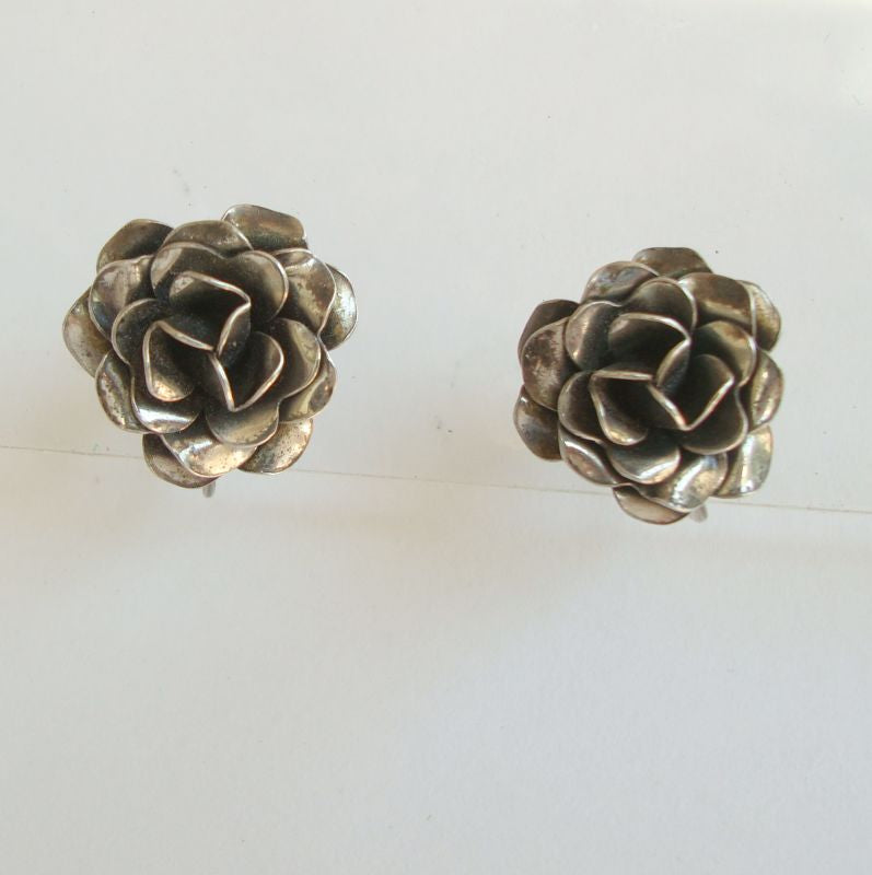 Rose Screw Style Earrings Sterling Silver Vintage Floral Jewelry