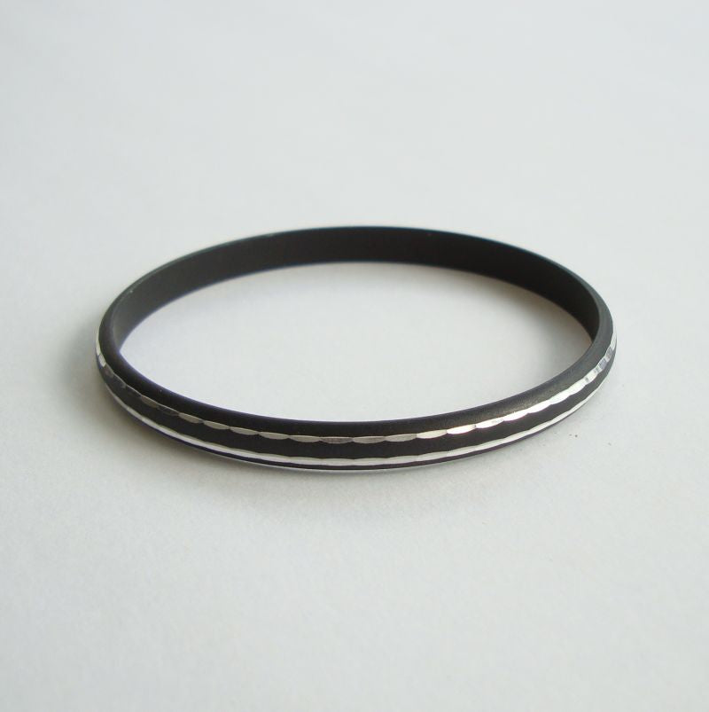 Black Enameled Bangle Bracelet with Mirror Effect