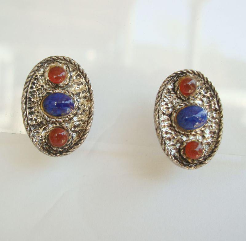 HOLLYCRAFT Blue Amber Cab Clip On Earrings 1940s Vintage Jewelry