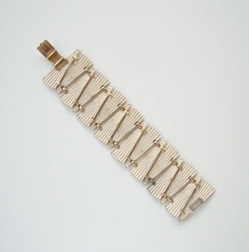 Art Deco Style White Enameled Wide Link Bracelet Vintage Jewelry