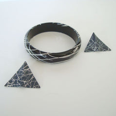 Black White Lacquered Wood Bangle Bracelet Enameled Metal Earrings Set