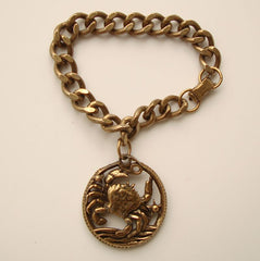 Brass Crab Charm Bracelet Curb Link Cancer Astrological Sign Vintage Jewelry