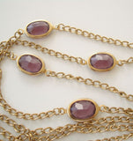 Amethyst  Plastic Bead Chain Necklace 52-inches Vintage Jewelry