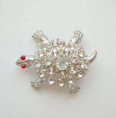 Rhinestone Studded Turtle Brooch Red Eyes Pin Vintage Jewelry