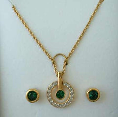 D'Orlan Signed Demi Emerald-Green Rhinestone Necklace Earring Set NIB 22K GP Jewelry