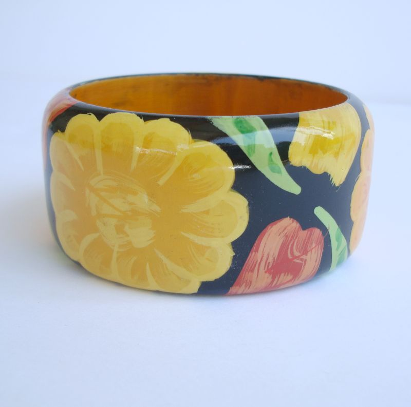 Hand Painted Wide Floral Wood Bangle Probably Indian Jewelry