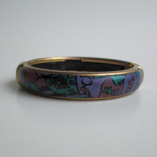 Painted Enamel Hinged Bangle Bracelet