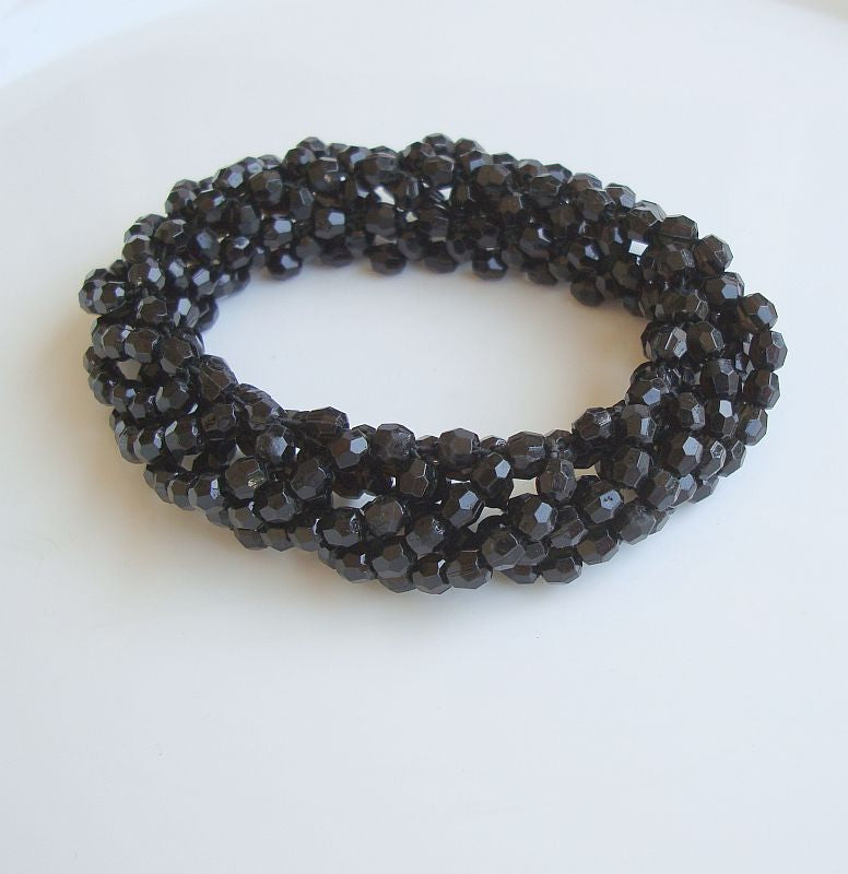 Black Faceted Bead Bracelet Multi Strand Woven Expansion