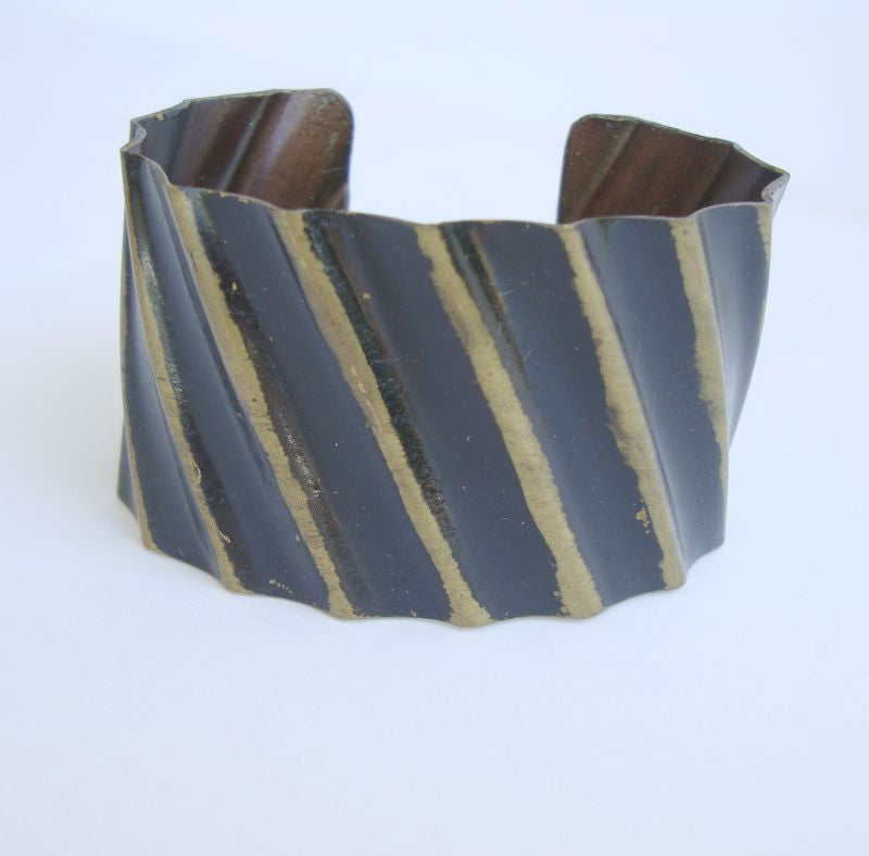 Black Enamel Stripe Wide Brass Cuff Bracelet Vintage Jewelry