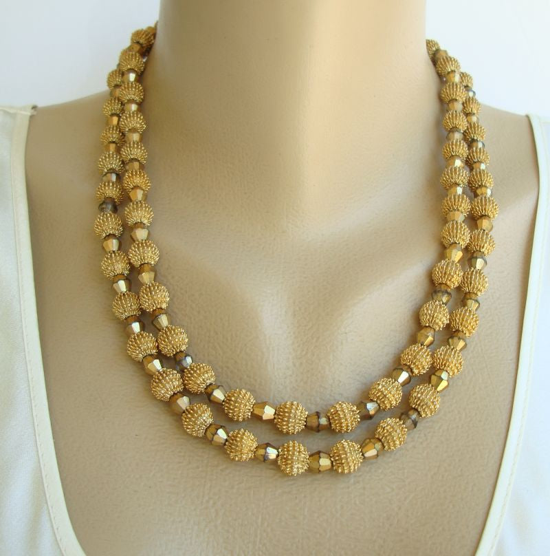 TRIFARI c1950 Double Strand Faceted Glass Crystal  Vintage Necklace