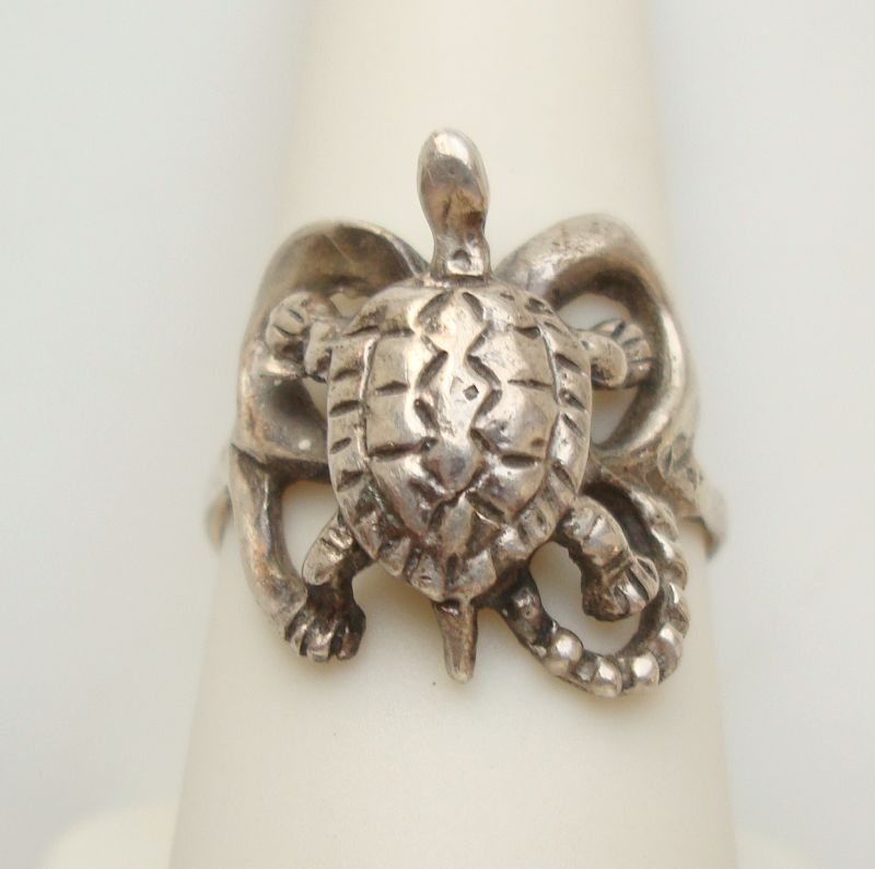 Sterling Silver Turtle Ring Size 8 Mexico Vintage Reptile Jewelry