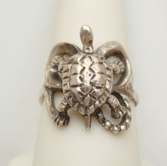 Sterling Silver Turtle Ring Size 8.25 Mexico Vintage Reptile Jewelry