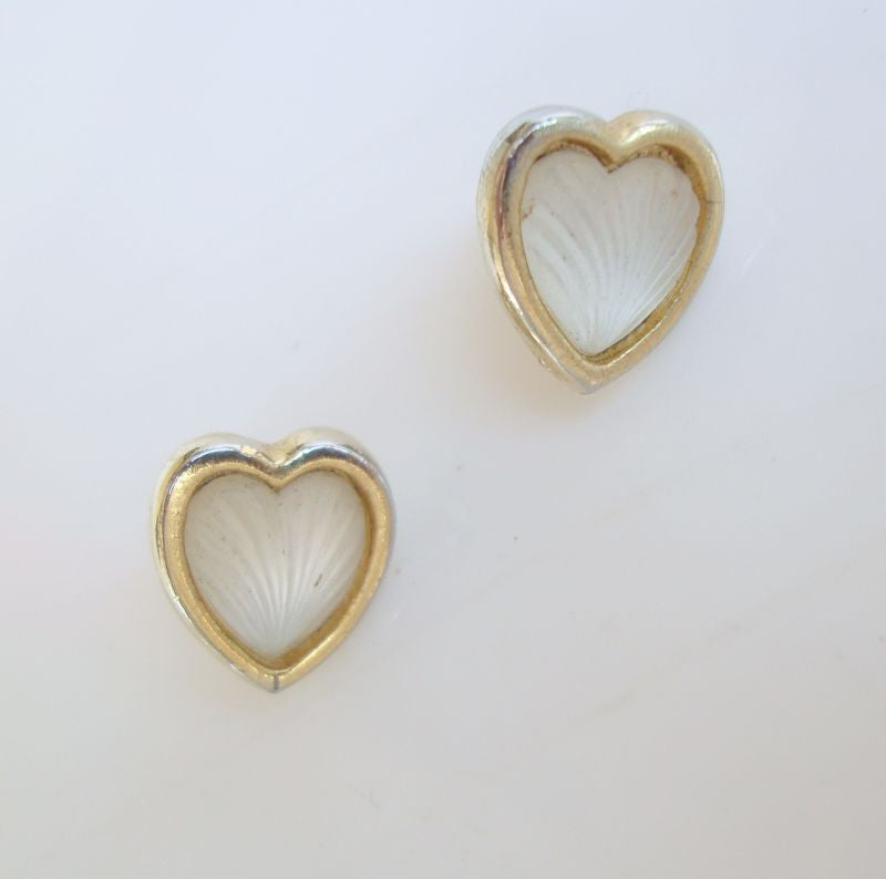 Molded Glass Heart Earrings Post Style Camphor-Like Jewelry