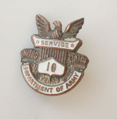 Tiny Army 10 year Service Pin Vintage Jewelry