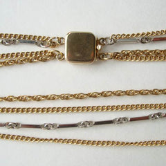 Japan 4-Strand Chain Necklace Gold Plated Clasp Vintage Jewelry