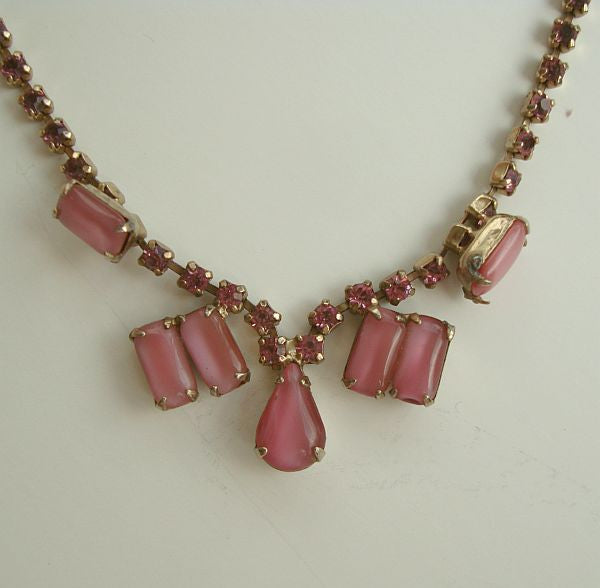 "Pink Givre Glass Pink Rhinestones Necklace 16"" Elegant Vintage Jewelry"