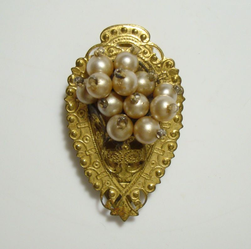 Arts and Crafts Era Dress Clip Brass Faux Pearls Vintage Jewelry