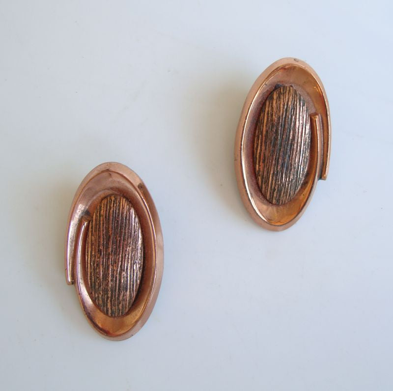 RENOIR Copper Coronet Oval Clip On Earrings Vintage Jewelry