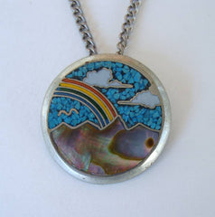 Cloisonne MOP Turquoise Pendant Necklace Colorful Scenic Seas Rainbow Jewelry