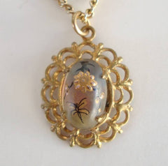 Art Glass Pendant Necklace Dragonfly Flower Vintage Figural Jewelry