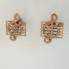 Renoir Era Copper Musical Clef Screw Earrings Vintage Jewelry