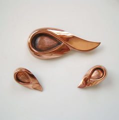 RENOIR Copper Modernist SARI Brooch Clip Earrings Set Vintage Jewelry