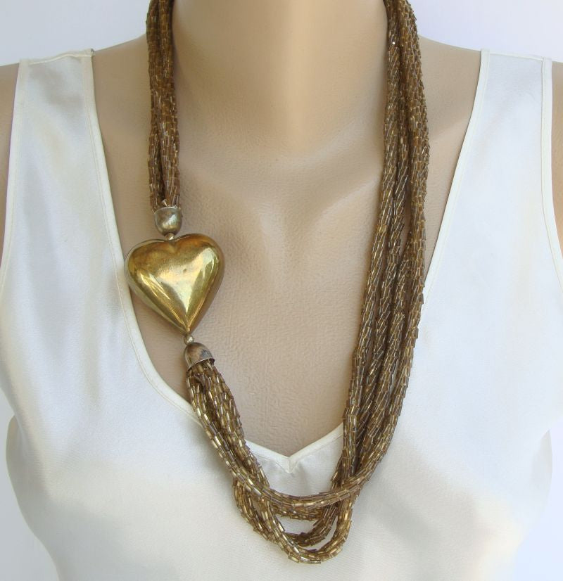 4-Strand Asymmetrical Necklace Brass Puffed Heart Sweetheart Vintage Jewelry