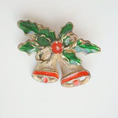 Green Red Enamel Chrismas Bells Brooch Vintage Holiday Jewelry