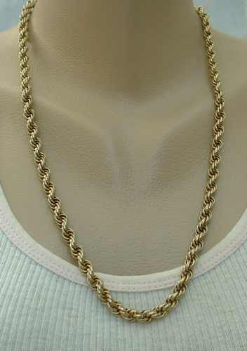 Substantial Goldtone Triple Rope Chain Necklace 24-inches Vintage Jewelry