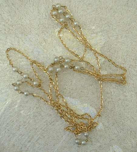 Long 56-inch Cable Chain Necklace with Faux Pearls Vintage Jewelry