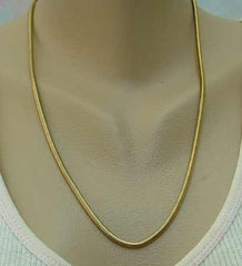 Round Snake Chain Necklace Goldtone 22-inches long