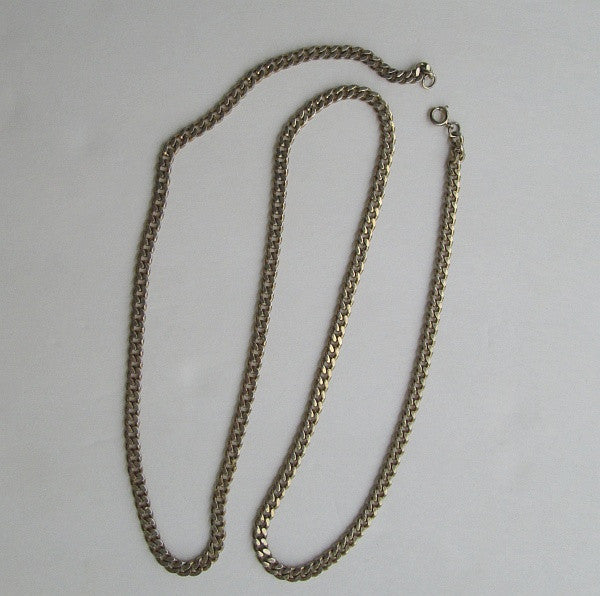 Long 32-inch Curb Link Chain Necklace Goldtone Metal