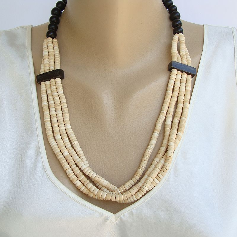 Carved Bone 4-Strand Necklace Beige Black Plastic Clasp Vintage Jewelry