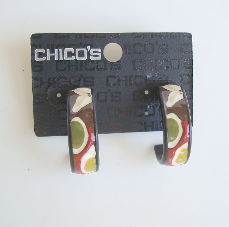 Chico's Multi Color Enamel Hoop Earrings Post Style New on Card Jewelry