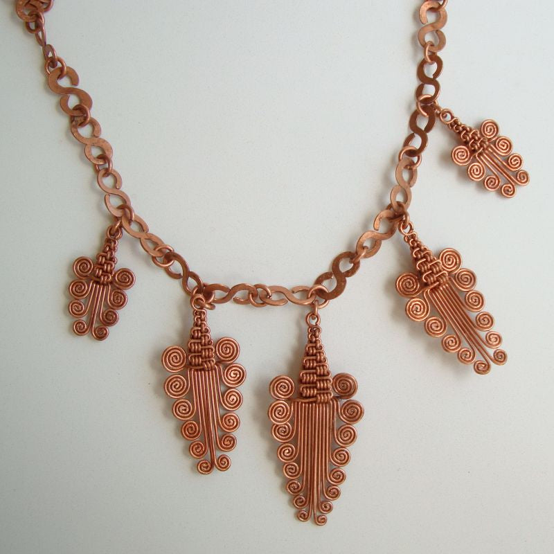 Egyptian Revival Style Copper Plated Fringe Necklace Scroll or Grape Jewelry