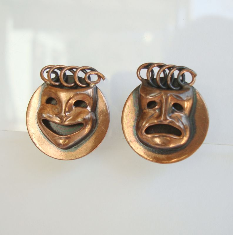 Comedy Tragedy Copper Earrings Vintage Screw style