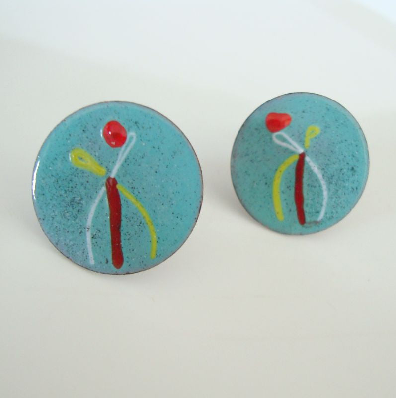 Copper Enamel Vintage Mid Century Earrings Screw Style Vintage Jewelry