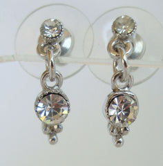 Delicate Rhinestone Dangle Post Style Earrings Sparkle Galore