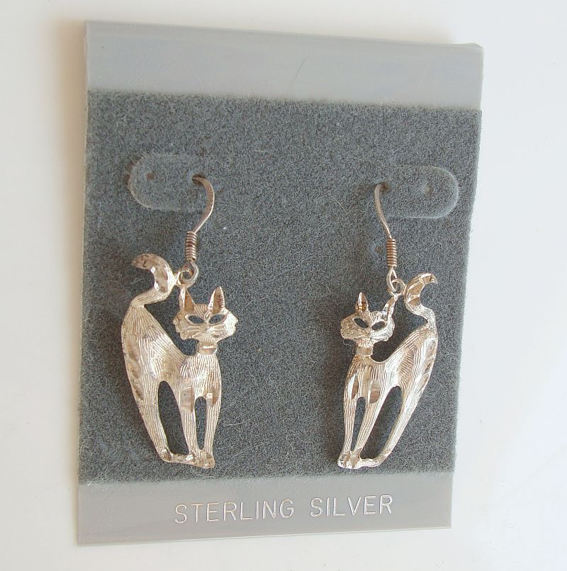 Sterling Silver Arched Cats Dangle Earrings Animal Jewelry New on Card